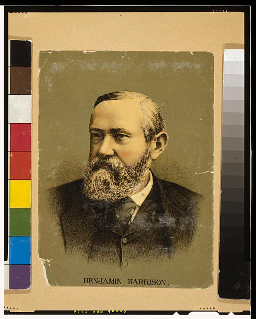 [Benjamin Harrison, head-and-shoulders portrait, facing slightly left]
