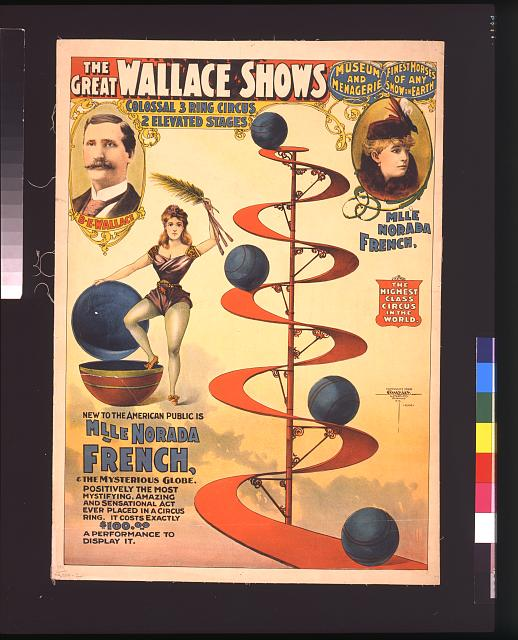 The great Wallace shows: colossal 3 ring circus, 2 elevated stages