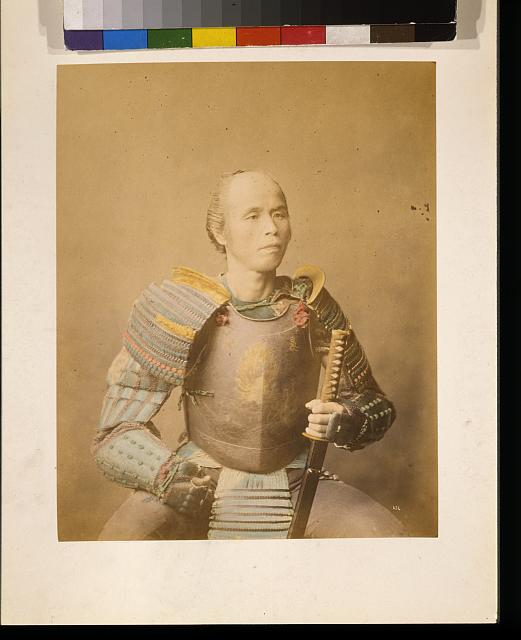 [Samurai warrior, half-length studio portrait, facing front, wearing armor and holding a sword]