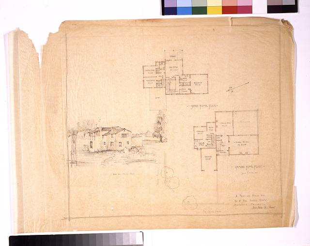 [A proposed house for Mr. and Mrs. Harry Gantz (Montecito, California). Ground floor plan, second floor plan, and house from Valley Road]