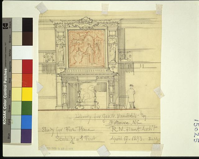[Biltmore, Asheville, North Carolina. Library. Study for fireplace and overmantel]