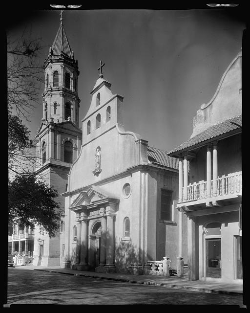 Cathedral, faþade & tower, seen from right, St. Augustine, St. Johns County, Florida
