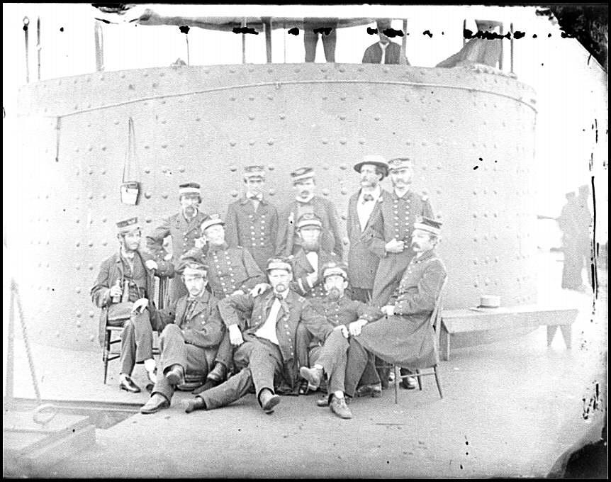 [James River, Va. Officers of the U.S.S. Monitor grouped by the turret]