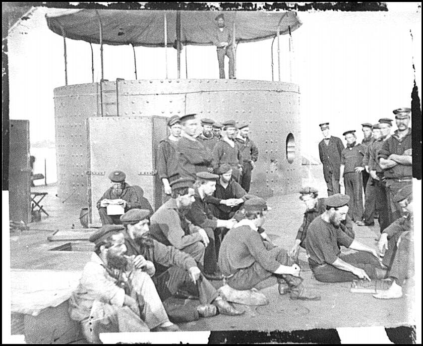 [James River, Va. Sailors relaxing on deck of U.S.S. Monitor]