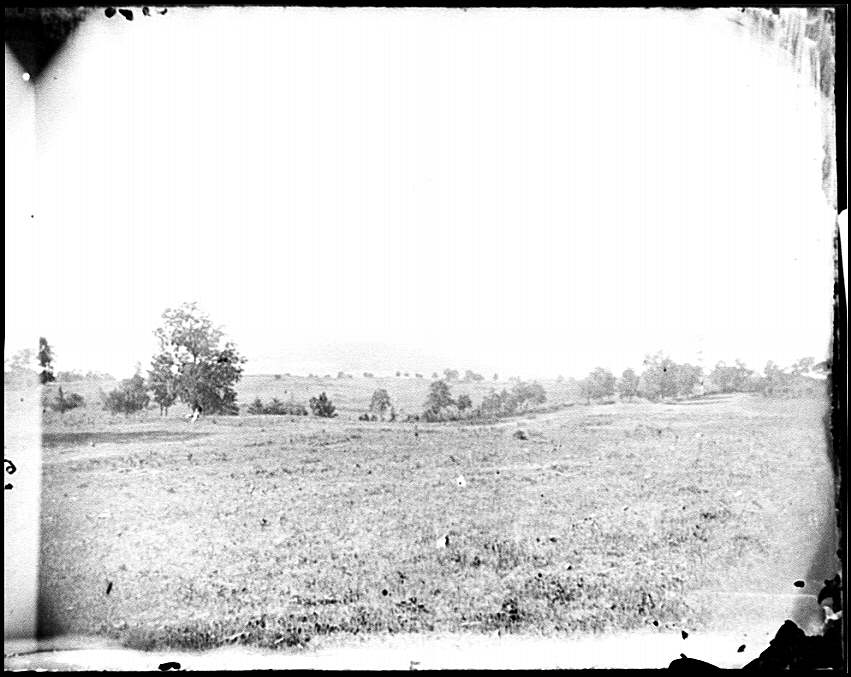 [Cedar Mountain, Va. View of battlefield with the mountain in the distance]