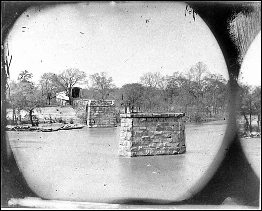 [Mrs. Nelson's Crossing, Va. Ruins of the Richmond and York River Railroad bridge across the Pamunkey, above White House]