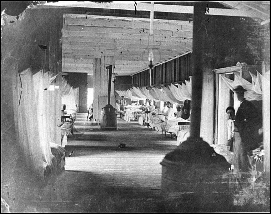 [Washington, D.C. Patients in ward of Harewood Hospital; mosquito nets over beds]