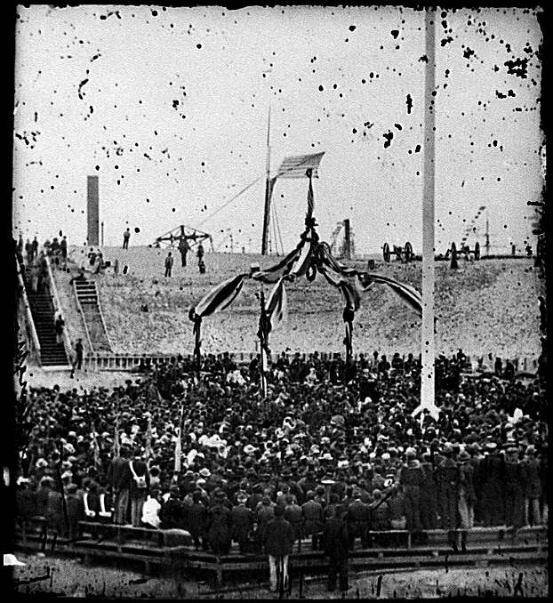[Charleston, S.C. Flag-raising ceremony, with Brevet Maj. Gen. Robert Anderson and Henry Ward Beecher present]
