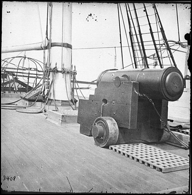 [Charleston Harbor, S.C. 24-pdr. howitzer on deck of U.S.S. Pawnee]