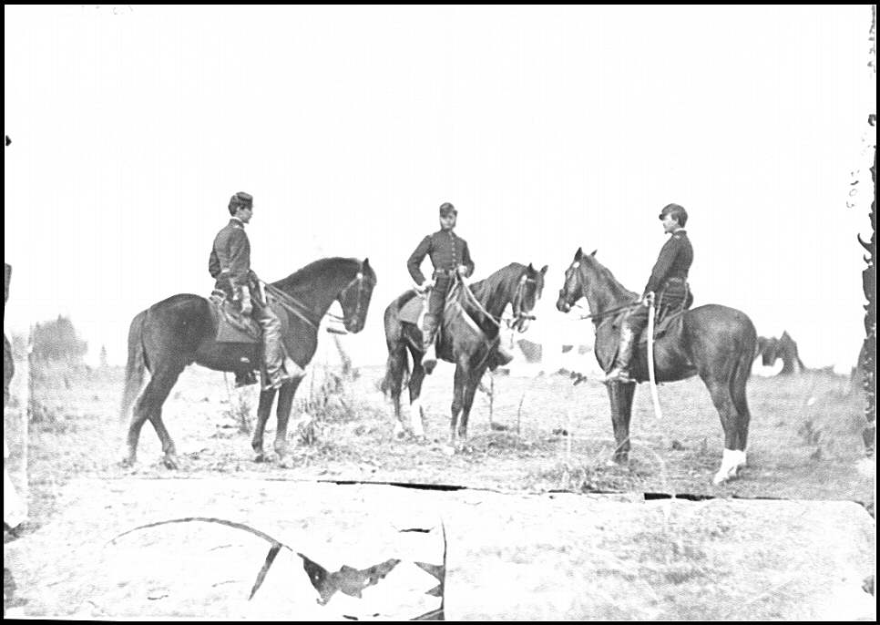 [Falmouth, Va. Aides de camp to Gen. Joseph Hooker: Capts. William L. Candler, Harry Russell, and Alexander Moore]