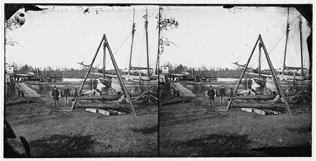 [Broadway Landing, Va.  Tripod artillery swing by the Appomattox]