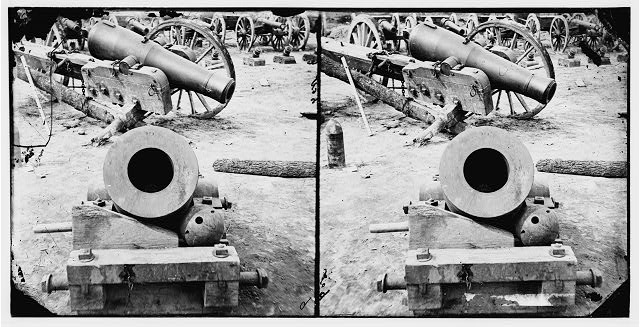 Broadway Landing, Appomattox River, Virginia. View of mortar and artillery