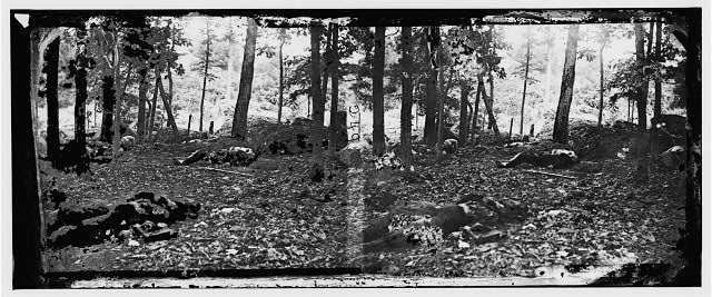 Gettysburg, Pennsylvania. Scene in the woods at the foot of Round Top