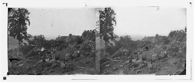 Gettysburg, Pennsylvania. View of breastworks on Round Top
