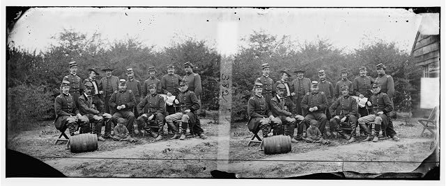 [Cumberland Landing, Va. Gens. Andrew A. Humphreys, Henry W. Slocum, William B. Franklin, William F. Barry, and John Newton, with friends]