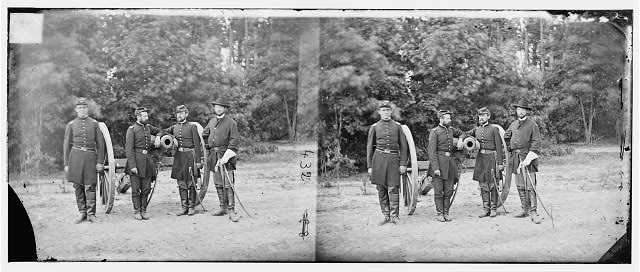 [Fair Oaks, Va., vicinity. Capt. Horatio G. Gibson (second from left) and officers of his battery]