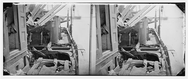 [James River, Va. Deck of Confederate gunboat Teaser, captured by U.S.S. Maratanza, showing damage from shell fire]