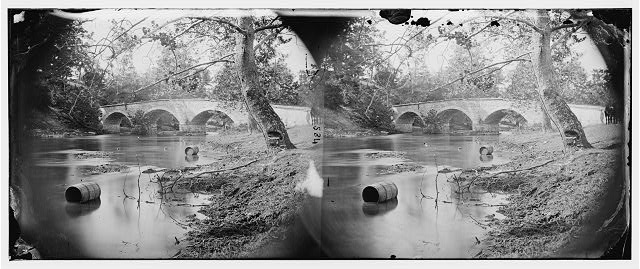 Antietam, Maryland. Burnside bridge, looking up stream