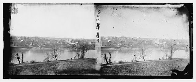 Fredericksburg, Virginia. View of town from east bank of the Rappahannock