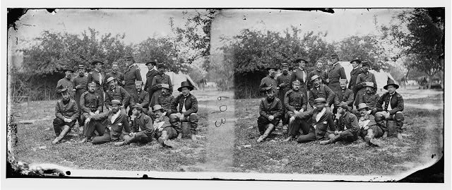 Falmouth, Virginia. Lord [William] Abinger and group of officers at headquarters, Army of the Potomac