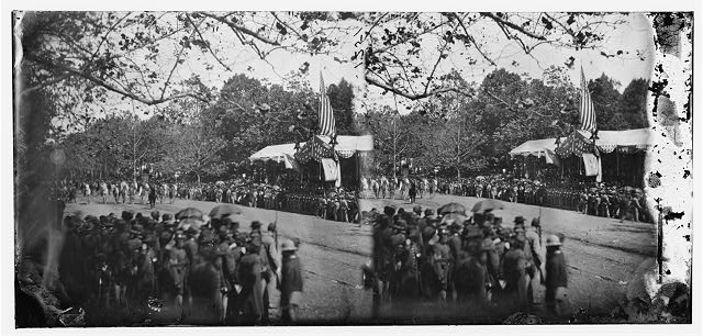 [Washington, D.C. Cavalry unit passing Presidential reviewing stand]