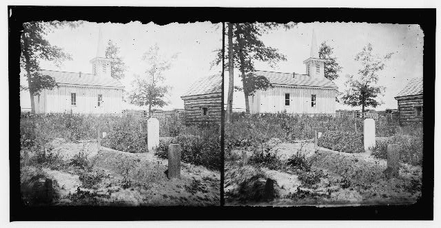 Drewry's Bluff, Virginia. Chapel at Fort Darling and soldier's graves