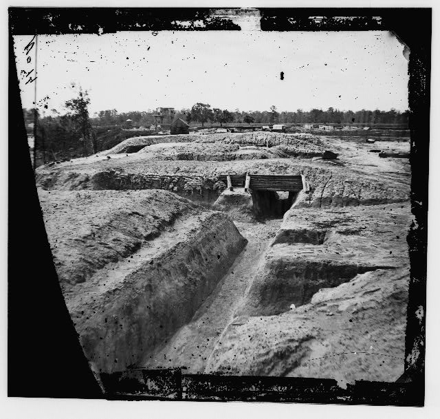 Dutch Gap Canal, James River, Virginia. Confederate fortifications