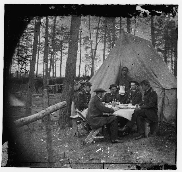 [Brandy Station, Va. Dinner party outside tent, Army of the Potomac headquarters]