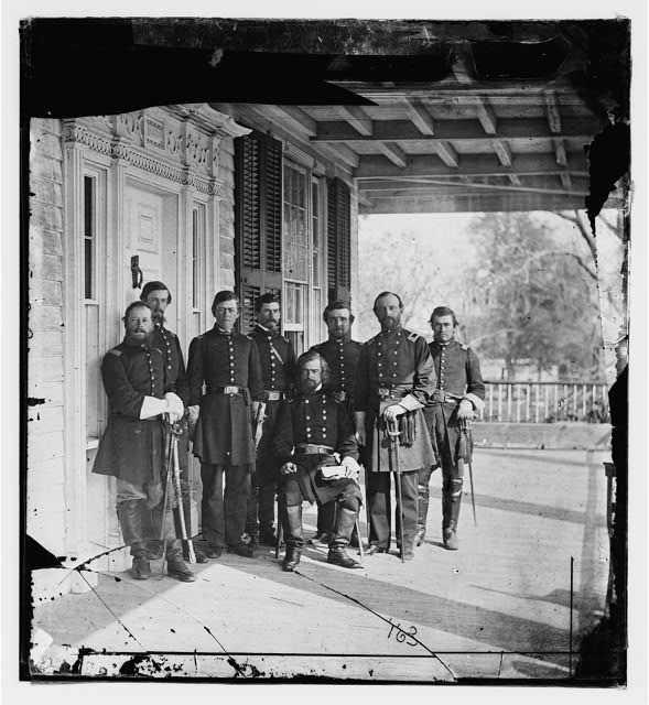 [Beaufort, S.C. Gen. Isaac I. Stevens (seated) and staff on porch of a house]