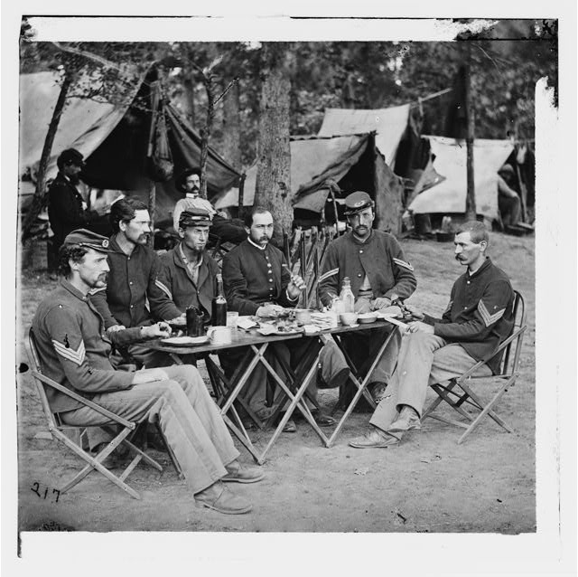 [Bealeton, Va. Noncommissioned officers' mess of Co. D, 93d New York Infantry]