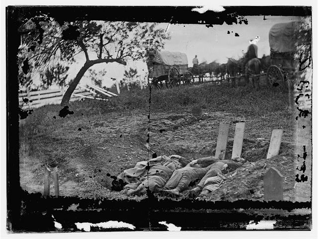 Gettysburg, Pennsylvania. Unfinished Confederate graves near the center of the battlefield