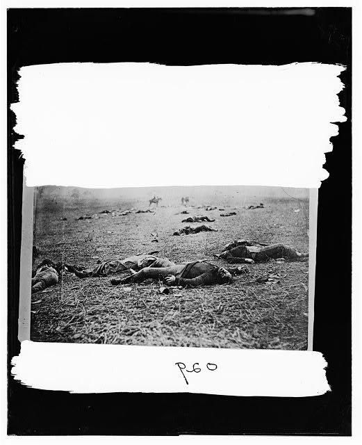 Gettysburg, Pennsylvania. Bodies of dead on right of Federal line