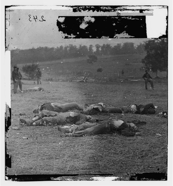 Gettysburg, Pennsylvania. Federal dead on the right of the Federal lines, killed on July 1