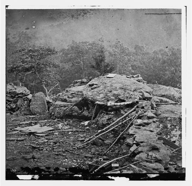 [Gettysburg, Pa. Interior view of breastworks on extreme left of the Federal line]