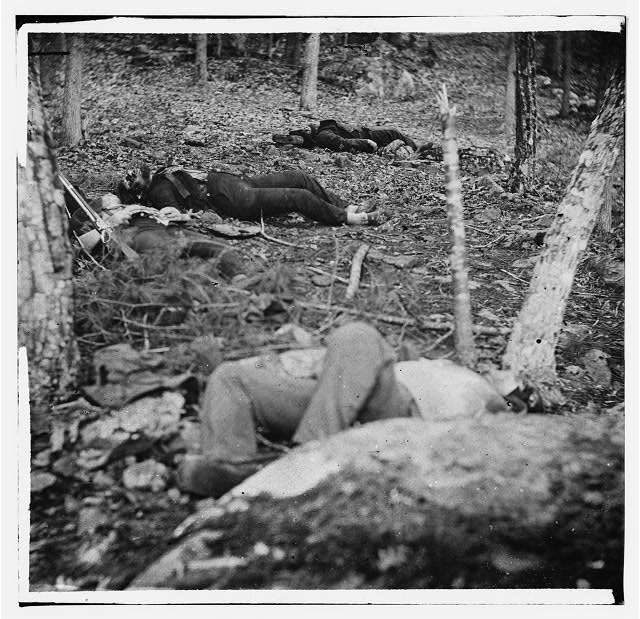 [Gettysburg, Pa. Four dead soldiers in the woods near Little Round Top]
