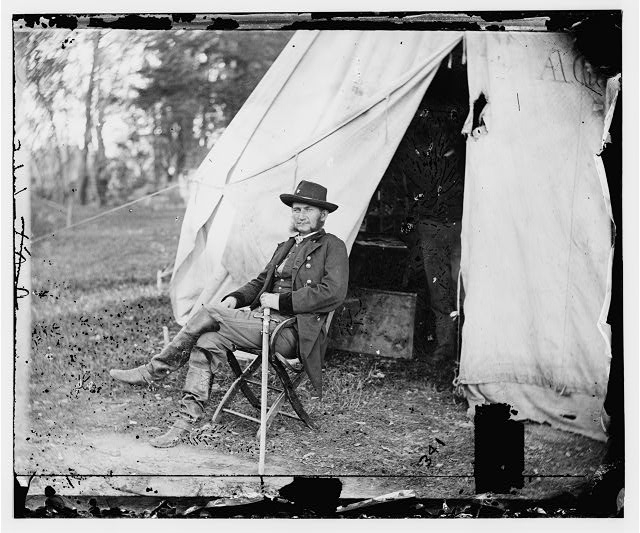 Warrenton, Virginia. General Judson Kilpatrick. (Seated by tent)