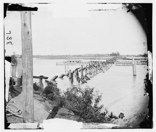 Virginia. Ruins of bridge on Richmond & York River Railroad. Destroyed May 17, 1862 to render the railroad useless to the Confederates
