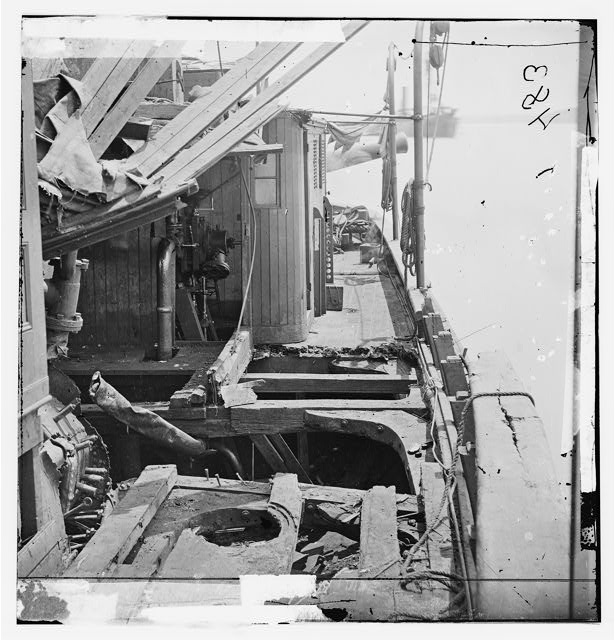 James River, Virginia. View of damaged deck of Confederate gunboat TEASER, captured on July 4, 1862 by U.S.S. MARATANZA