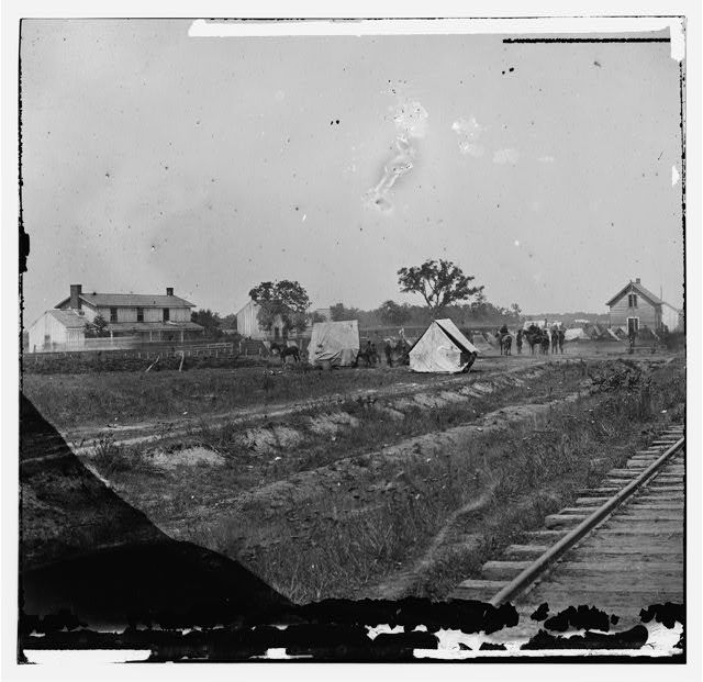 [Rappahannock Station, Va. Federal encampment near railroad]