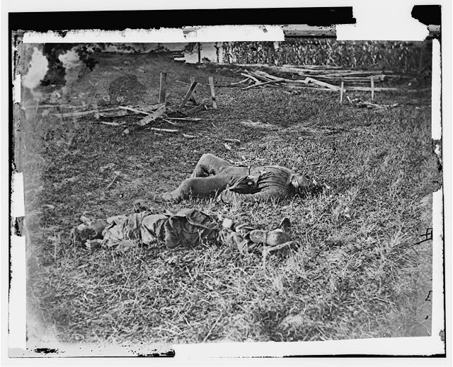 Antietam, Maryland. Battlefield near Sherrick's house where the 79th N.Y. Vols. fought after they crossed the creek. Group of dead Confederates