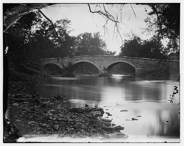 Antietam, Maryland. Burnside bridge across the Antietam. Southwest view