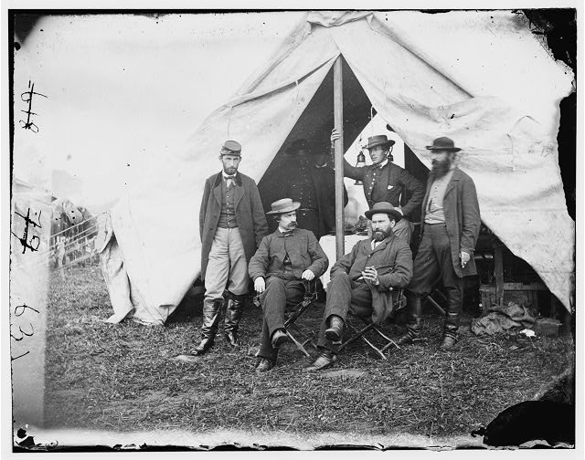 Antietam, Maryland. Seated: R. William Moore and Allan Pinkerton. Standing: George H. Bangs, John C. Babcock, and Augustus K. Littlefield