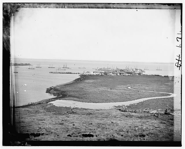 Aquia Creek Landing, Virginia. Distant view of Federal supply depot