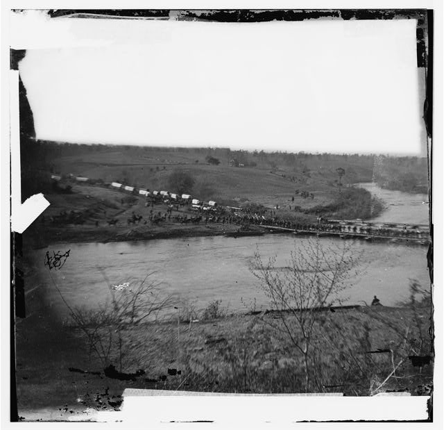Germanna Ford, Rapidan River, Virginia. Grant's troops crossing Germannia Ford