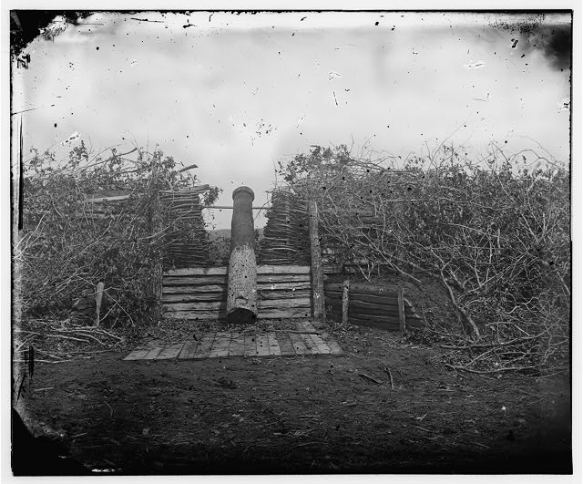 Centreville, Virginia. Confederate fort with Quaker gun