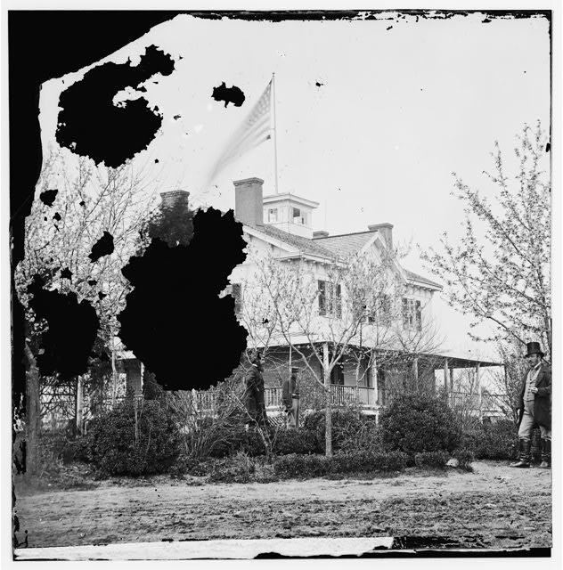 Arlington, Virginia (vicinity). Roche&#39;s house near Lee mansion Buds and blossoms of early spring