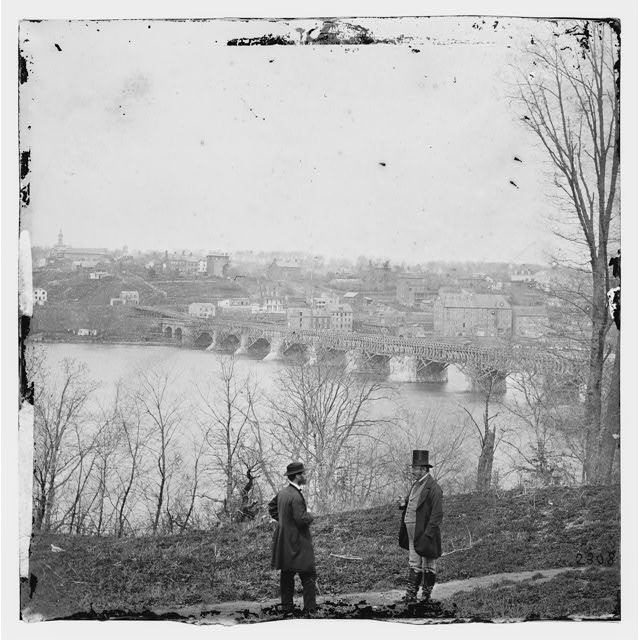 [Washington, D.C. The Aqueduct bridge and Georgetown from the Virginia bank]