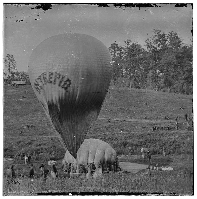 Fair Oaks, Virginia. Prof. Thaddeus S. Lowe replenishing balloon INTREPID from balloon CONSTITUTION