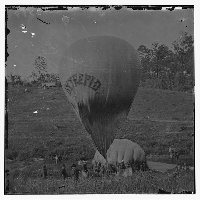 Thaddeus Lowe's balloon, the Intrepid, being inflated at Fair Oaks, Virginia, May 1862, Library of Congress, negative # LC-DIG-cwpb-01563.