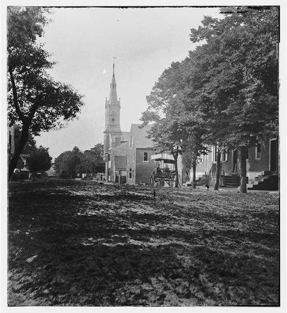 Fredericksburg, Virginia. View on Princess Anne Street showing Baptist church and 6th Corps hospital